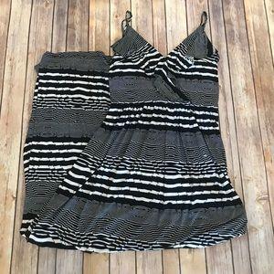 Betsey Johnson Black White Striped Maxi Dress 8